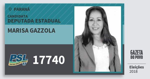 Santinho Marisa Gazzola 17740 (PSL) Deputada Estadual | Paraná | Eleições 2018