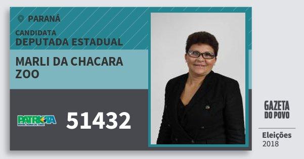 Santinho Marli da Chacara Zoo 51432 (PATRI) Deputada Estadual | Paraná | Eleições 2018
