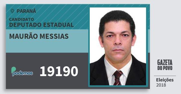 Santinho Maurão Messias 19190 (PODE) Deputado Estadual | Paraná | Eleições 2018