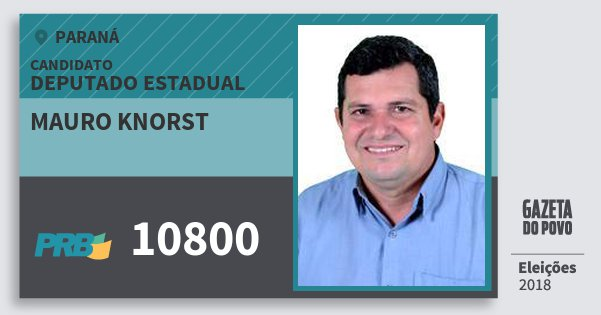 Santinho Mauro Knorst 10800 (PRB) Deputado Estadual | Paraná | Eleições 2018