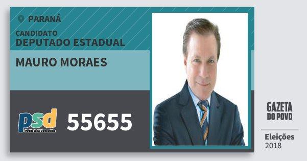 Santinho Mauro Moraes 55655 (PSD) Deputado Estadual | Paraná | Eleições 2018