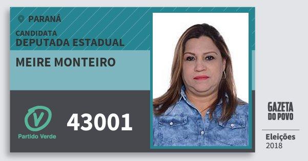 Santinho Meire Monteiro 43001 (PV) Deputada Estadual | Paraná | Eleições 2018
