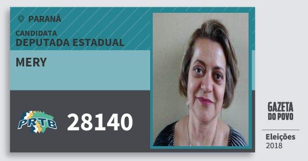 Santinho Mery 28140 (PRTB) Deputada Estadual | Paraná | Eleições 2018