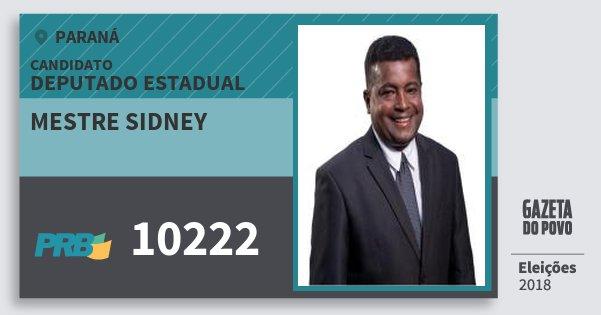 Santinho Mestre Sidney 10222 (PRB) Deputado Estadual | Paraná | Eleições 2018