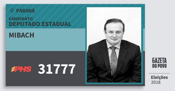 Santinho Mibach 31777 (PHS) Deputado Estadual | Paraná | Eleições 2018