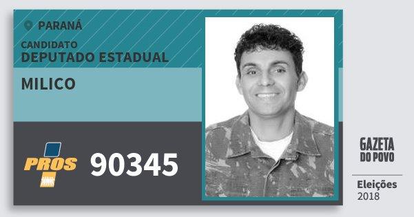 Santinho Milico 90345 (PROS) Deputado Estadual | Paraná | Eleições 2018