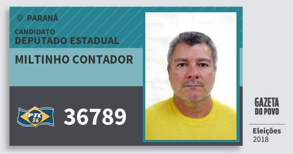 Santinho Miltinho Contador 36789 (PTC) Deputado Estadual | Paraná | Eleições 2018