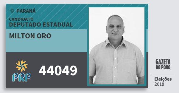 Santinho Milton Oro 44049 (PRP) Deputado Estadual | Paraná | Eleições 2018