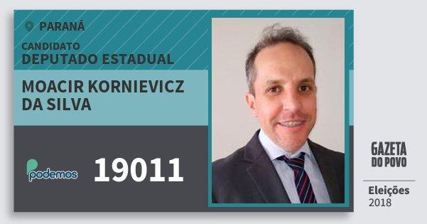 Santinho Moacir Kornievicz da Silva 19011 (PODE) Deputado Estadual | Paraná | Eleições 2018