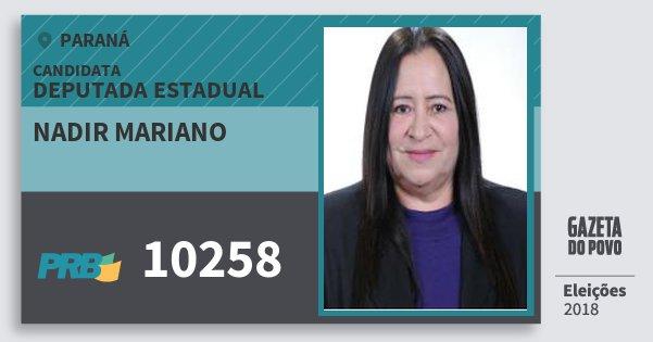 Santinho Nadir Mariano 10258 (PRB) Deputada Estadual | Paraná | Eleições 2018