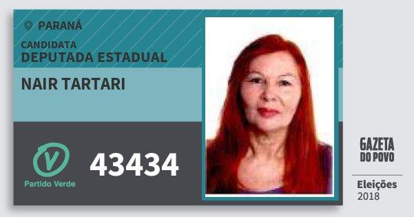 Santinho Nair Tartari 43434 (PV) Deputada Estadual | Paraná | Eleições 2018