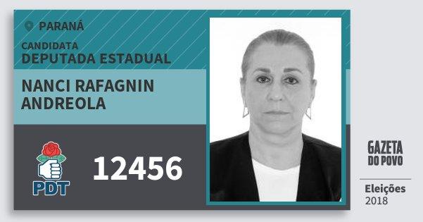 Santinho Nanci Rafagnin Andreola 12456 (PDT) Deputada Estadual | Paraná | Eleições 2018