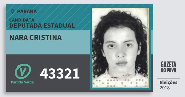 Santinho Nara Cristina 43321 (PV) Deputada Estadual | Paraná | Eleições 2018