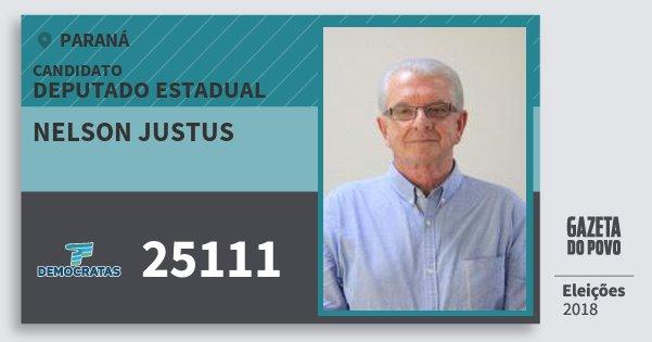 Santinho Nelson Justus 25111 (DEM) Deputado Estadual | Paraná | Eleições 2018