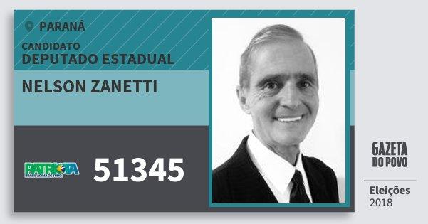 Santinho Nelson Zanetti 51345 (PATRI) Deputado Estadual | Paraná | Eleições 2018