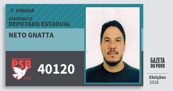 Santinho Neto Gnatta 40120 (PSB) Deputado Estadual | Paraná | Eleições 2018