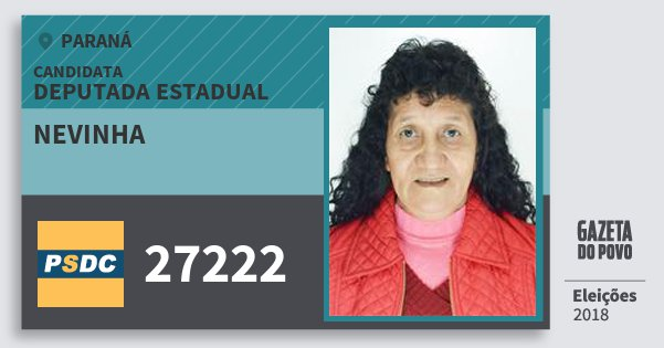 Santinho Nevinha 27222 (DC) Deputada Estadual | Paraná | Eleições 2018