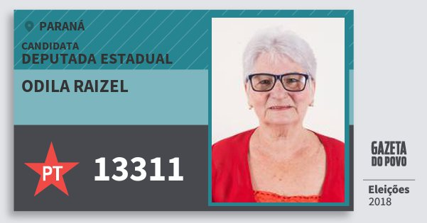 Santinho Odila Raizel 13311 (PT) Deputada Estadual | Paraná | Eleições 2018
