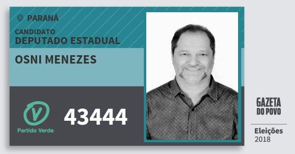 Santinho Osni Menezes 43444 (PV) Deputado Estadual | Paraná | Eleições 2018