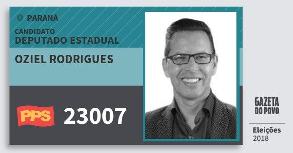 Santinho Oziel Rodrigues 23007 (PPS) Deputado Estadual | Paraná | Eleições 2018