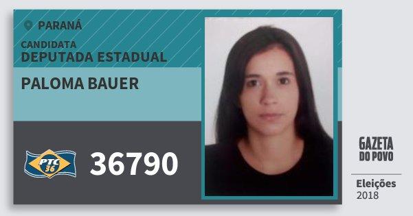 Santinho Paloma Bauer 36790 (PTC) Deputada Estadual | Paraná | Eleições 2018