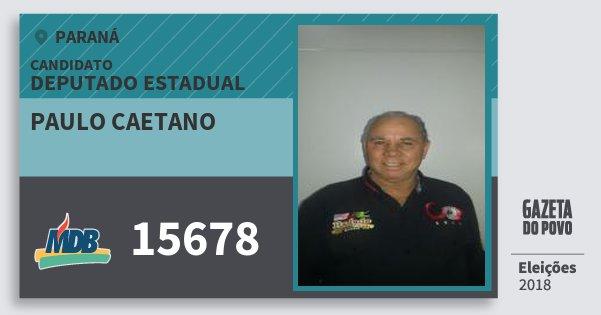 Santinho Paulo Caetano 15678 (MDB) Deputado Estadual | Paraná | Eleições 2018