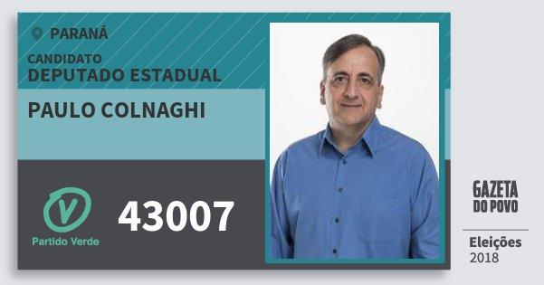 Santinho Paulo Colnaghi 43007 (PV) Deputado Estadual | Paraná | Eleições 2018