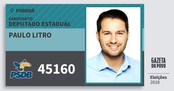 Santinho Paulo Litro 45160 (PSDB) Deputado Estadual | Paraná | Eleições 2018