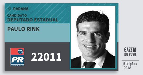 Santinho Paulo Rink 22011 (PR) Deputado Estadual | Paraná | Eleições 2018