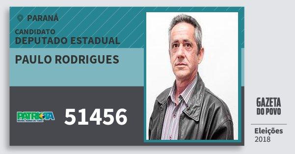 Santinho Paulo Rodrigues 51456 (PATRI) Deputado Estadual | Paraná | Eleições 2018