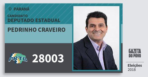 Santinho Pedrinho Craveiro 28003 (PRTB) Deputado Estadual | Paraná | Eleições 2018