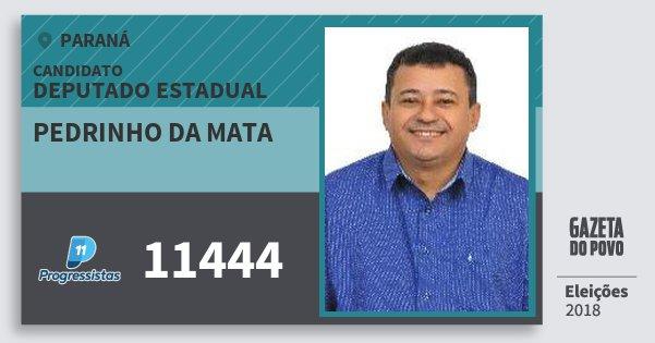 Santinho Pedrinho da Mata 11444 (PP) Deputado Estadual | Paraná | Eleições 2018