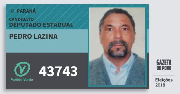 Santinho Pedro Lazina 43743 (PV) Deputado Estadual | Paraná | Eleições 2018