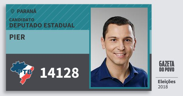 Santinho Pier 14128 (PTB) Deputado Estadual | Paraná | Eleições 2018