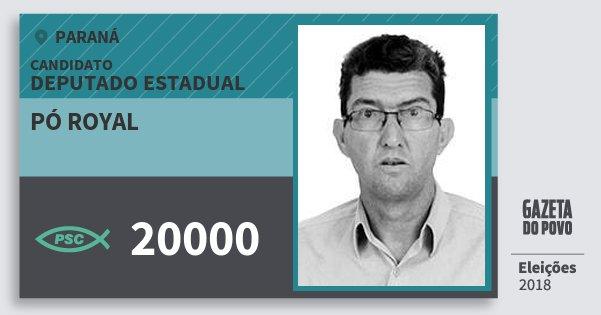 Santinho Pó Royal 20000 (PSC) Deputado Estadual | Paraná | Eleições 2018