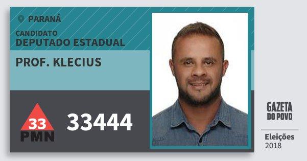 Santinho Prof. Klecius 33444 (PMN) Deputado Estadual | Paraná | Eleições 2018
