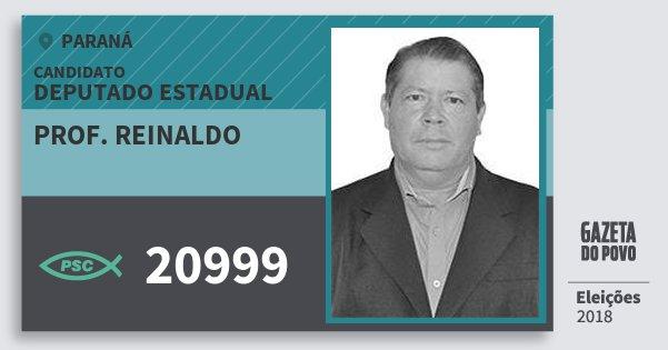 Santinho Prof. Reinaldo 20999 (PSC) Deputado Estadual | Paraná | Eleições 2018