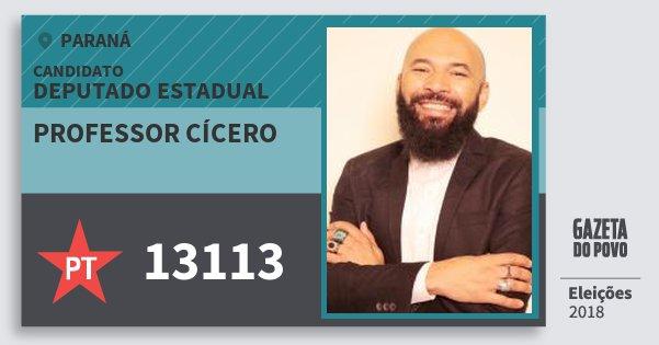 Santinho Professor Cícero 13113 (PT) Deputado Estadual | Paraná | Eleições 2018