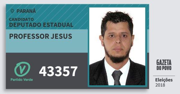 Santinho Professor Jesus 43357 (PV) Deputado Estadual | Paraná | Eleições 2018