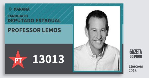 Santinho Professor Lemos 13013 (PT) Deputado Estadual | Paraná | Eleições 2018