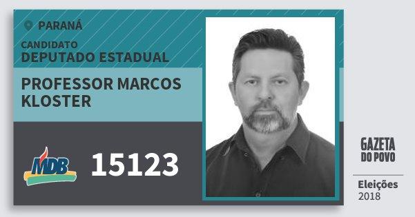 Santinho Professor Marcos Kloster 15123 (MDB) Deputado Estadual | Paraná | Eleições 2018