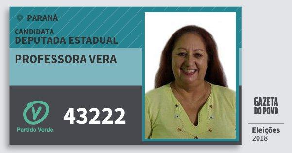 Santinho Professora Vera 43222 (PV) Deputada Estadual | Paraná | Eleições 2018