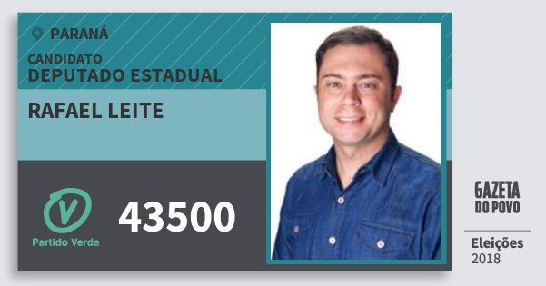 Santinho Rafael Leite 43500 (PV) Deputado Estadual | Paraná | Eleições 2018