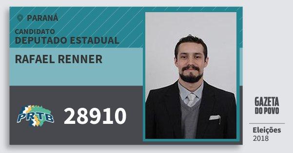 Santinho Rafael Renner 28910 (PRTB) Deputado Estadual | Paraná | Eleições 2018