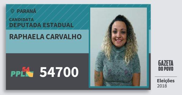 Santinho Raphaela Carvalho 54700 (PPL) Deputada Estadual | Paraná | Eleições 2018