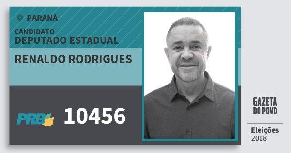 Santinho Renaldo Rodrigues 10456 (PRB) Deputado Estadual | Paraná | Eleições 2018