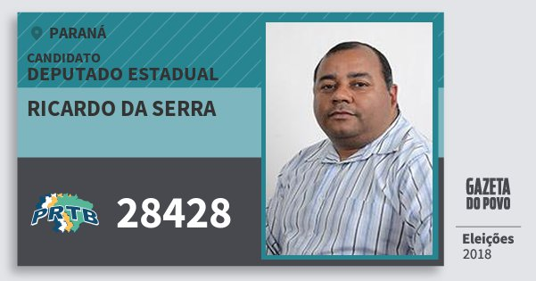 Santinho Ricardo da Serra 28428 (PRTB) Deputado Estadual | Paraná | Eleições 2018