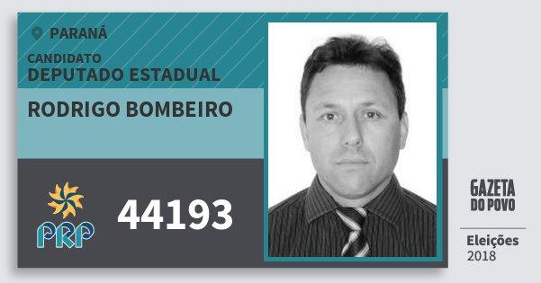Santinho Rodrigo Bombeiro 44193 (PRP) Deputado Estadual | Paraná | Eleições 2018
