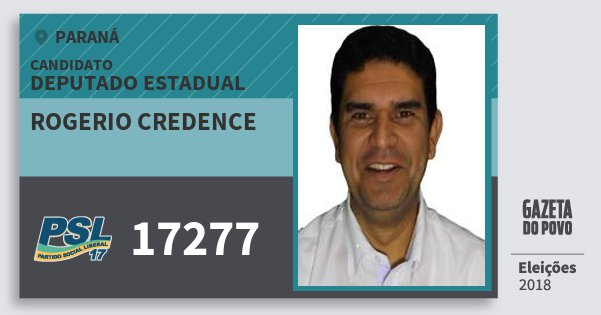 Santinho Rogerio Credence 17277 (PSL) Deputado Estadual | Paraná | Eleições 2018