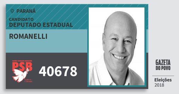 Santinho Romanelli 40678 (PSB) Deputado Estadual | Paraná | Eleições 2018